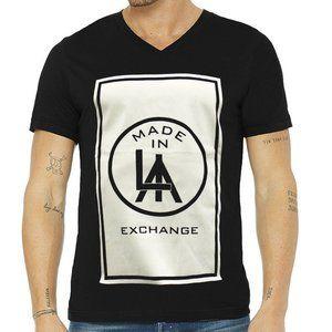 EXCHANGE MEN L.A BLACK V-NECK T-SHIRT SIZE S M L
